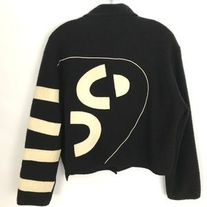 Alissa Funky graphic black crop jacket Size S